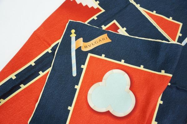 ブルガリ(BVLGARI) スカーフ 絹 紺 レディース