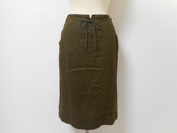 レコパン 麻 スカート 2 カーキ レディース