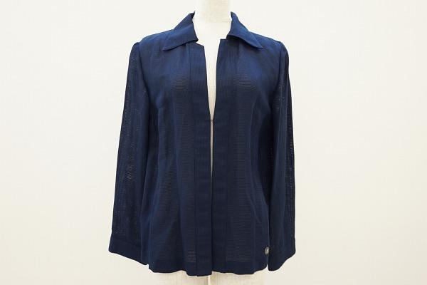 レオナール ブラウス 9 紺 長袖 麻混 レディース