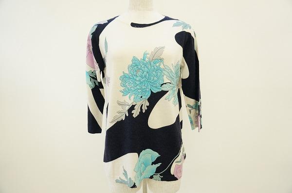 レオナール カットソー 花柄 七分袖 レディース