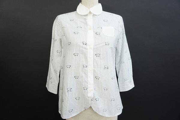 プープレ シャツ 白 五分袖 丸襟 レディース