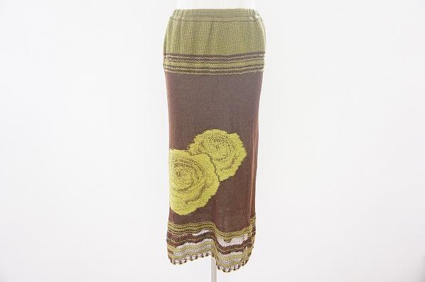 ヒロコビス スカート 9 茶 緑 ニット レディース