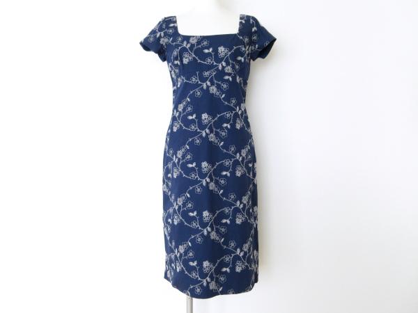 トッカ ワンピース 6 紺 刺繍 花柄 レディース
