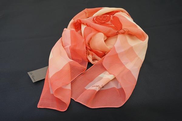 レコパン スカーフ 赤 花柄 シルク レディース