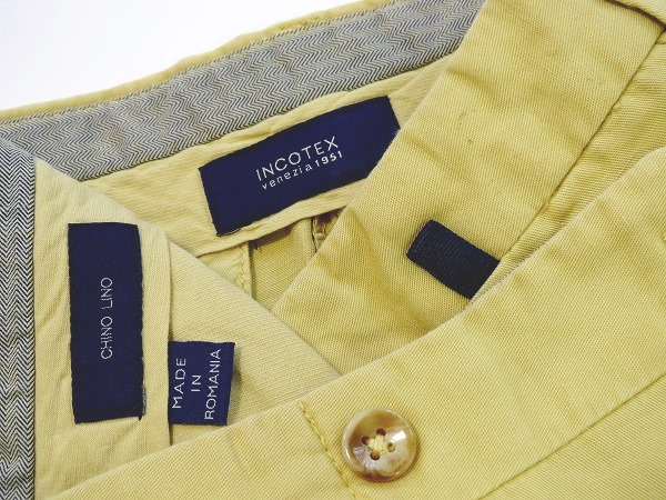 インコテックス ドレスパンツ シルエットが美しいノータックチノパン