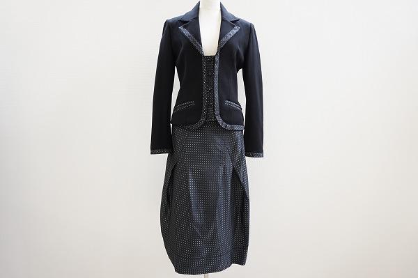 ヒロコビス スカートスーツ 9 黒 美品 レディース