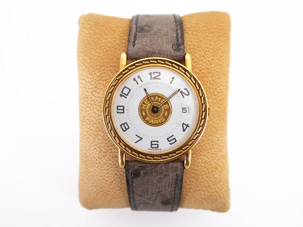 エルメス 腕時計 セリエ K18 レザー 美品 メンズ