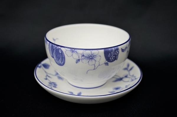 ウェッジウッド BLUEPLUM ブループラム ジャパニーズティー 湯呑み カップ&ソーサー 1客 美品