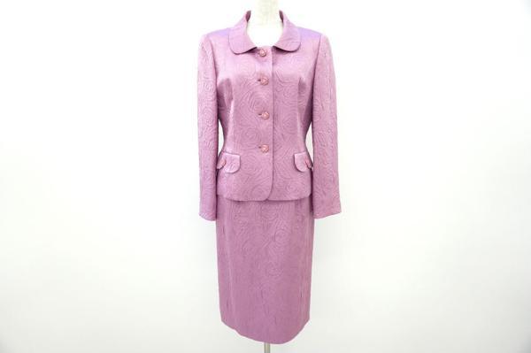 ジュンアシダ スカートスーツ 9 ピンク シルク混 レディース