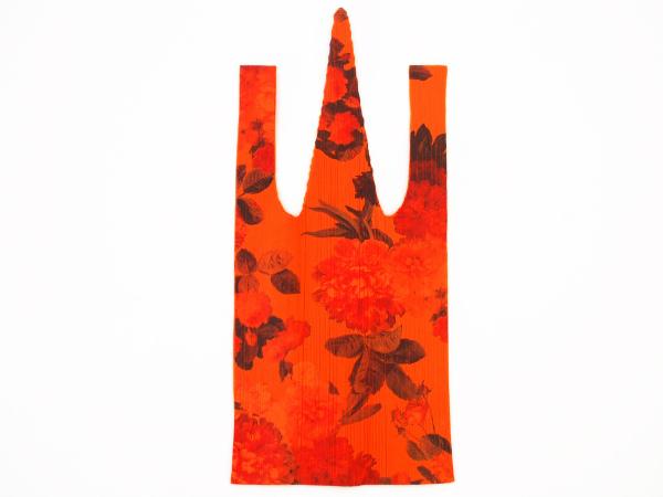 イッセイミヤケ プリーツプリーズ トートバッグ オレンジ 花柄 レディース