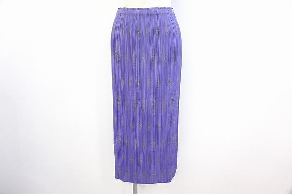 プリーツプリーズイッセイミヤケ スカート 3 紫 レディース