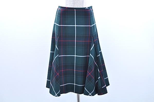 ヨークランド スカート 9 緑 紺 チェック レディース