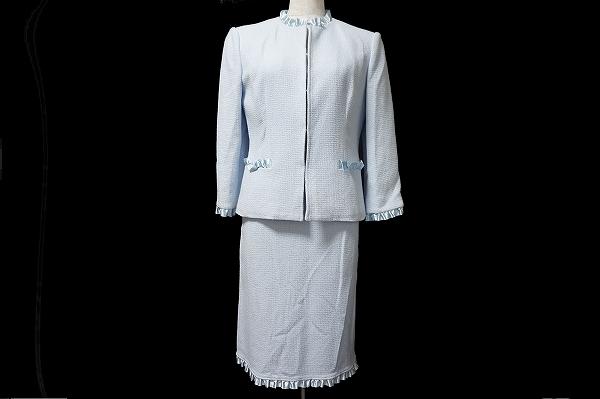 ハロッズ スカーツスーツ 2 水色 シルク レディース