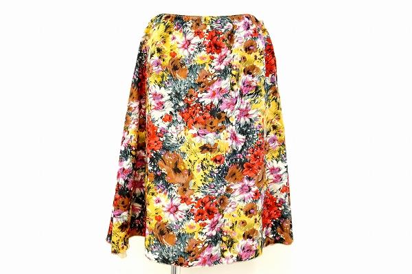 ドゥロワー スカート 38 花柄 シルク レディース