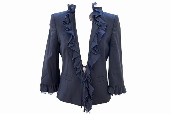 ヴァレンティノ ジャケット 40 濃紺 フリル レディース