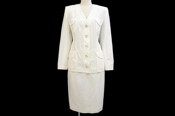 イヴサンローラン スカートスーツ 38 白 レディース