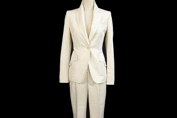 グッチ パンツスーツ  オフホワイト ストライプ レディース