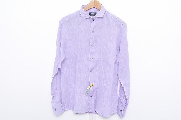 エポカ UOMO 長袖シャツ 46 紫 麻 メンズ