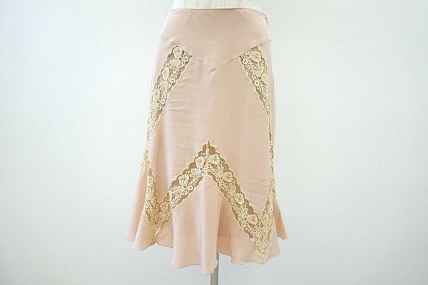 ブルーマリン スカート 38 ピンク シルク レディース