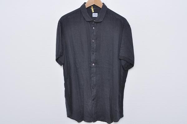 アルマーニコレッツォーニ 半袖シャツ XL 紺 麻 メンズ