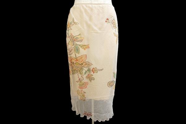 パオラフラーニ スカート 40 ベージュ シルク シフォン ビジュー レディース