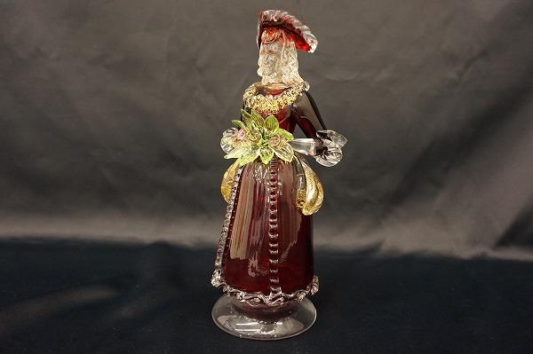 ムラノガラス ベネチアンガラス 貴婦人 置物 オブジェ 赤