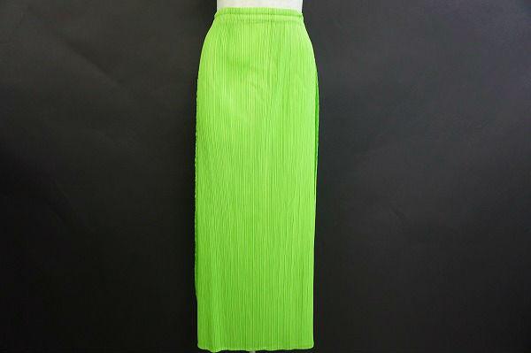 プリーツプリーズ イッセイミヤケ スカート 2 黄緑 レディース
