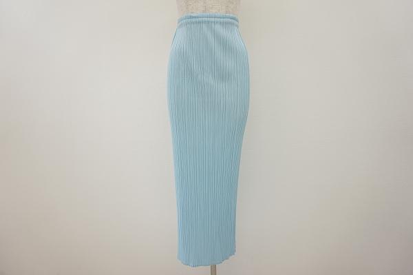 プリーツプリーズイッセイミヤケ スカート 2 水色 美品 レディース_2