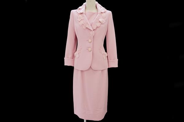 銀座マギー スカートスーツ 40 ピンク ビジュー レース 胸当付 レディース