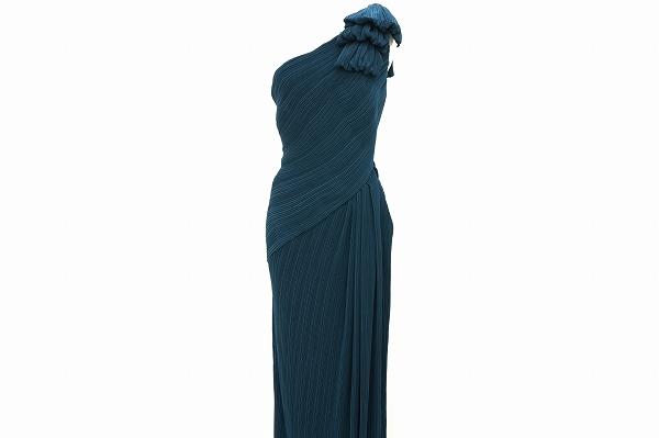 タダシショージ フォーマル ロング ドレス ワンピース 10 紺 プリーツ ワンショルダー レディース