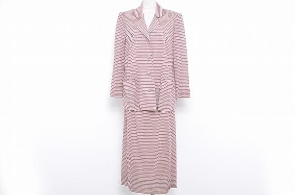 斉藤都世子 スカートスーツ ニット 美品 ピンク レディース