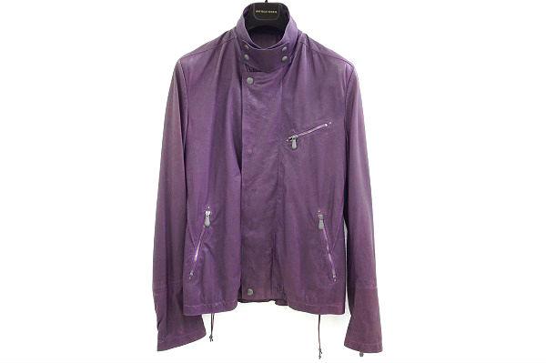 ボッテガヴェネタ ジャケット レザー 50 紫 メンズ