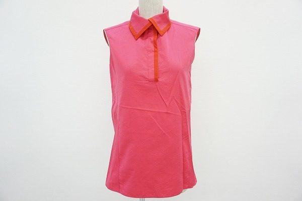 綺麗なローズピンクが上品なイヴサンローランのノースリーブシャツ