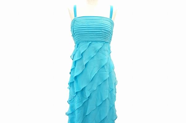 タダシ TADASHI ドレス ワンピース 2 水色 ロング シルク シフォン レディース