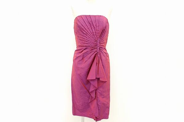 タダシ TADASHI フォーマル ドレス ベアトップ ワンピース 2 赤紫 シルク レディース