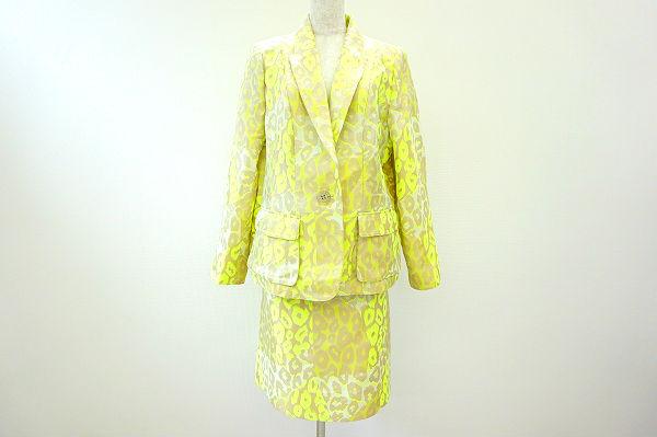 銀座マギー スカートスーツ 42 ベージュ 蛍光黄色 ヒョウ柄 美品 レディース