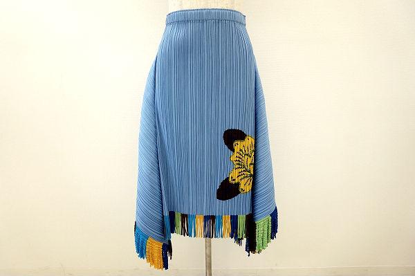 プリーツプリーズイッセイミヤケ スカート 3 青 美品 レディース