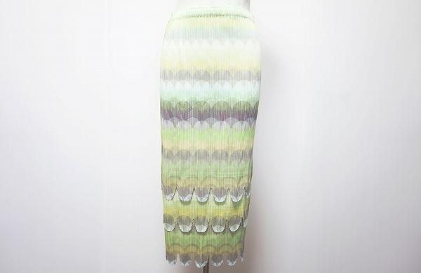 プリーツプリーズイッセイミヤケ スカート 4 黄緑 黄色 グレー レディース