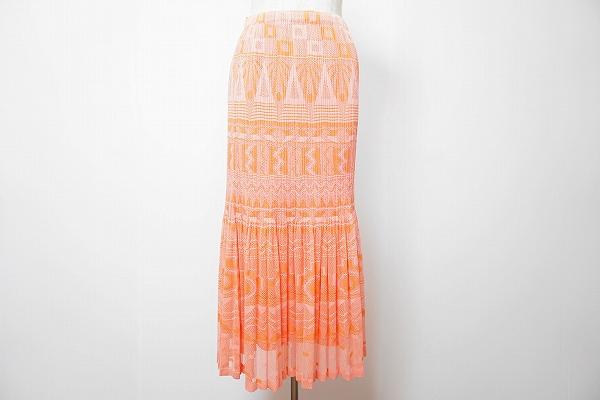 プリーツプリーズイッセイミヤケ スカート 3 ピンク オレンジ 美品 レディース