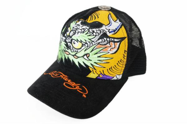 エド・ハーディー メッシュ キャップ 帽子 黒 ドラゴン 美品