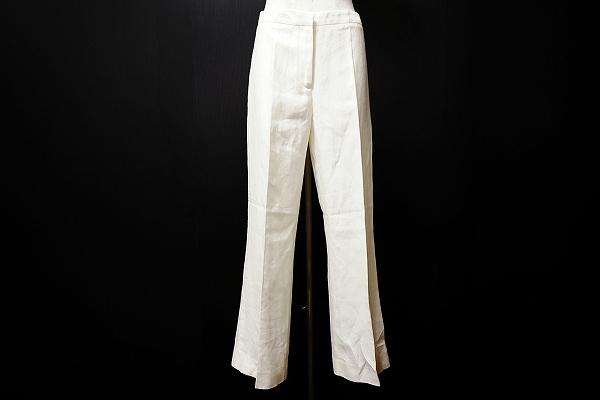 アニオナ AGNONA パンツ 44 白 麻 シルク イタリア製 レディース