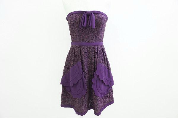 ミュウミュウ ワンピース ドレス ベアトップ 36 紫 新品同様 レディース