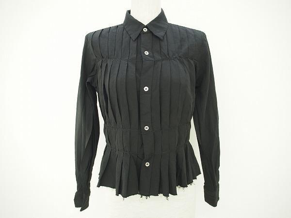 縦ラインのギャザーがスタイルを良く見せてくれる。コムデギャルソンの長袖シャツを買取りいたしました