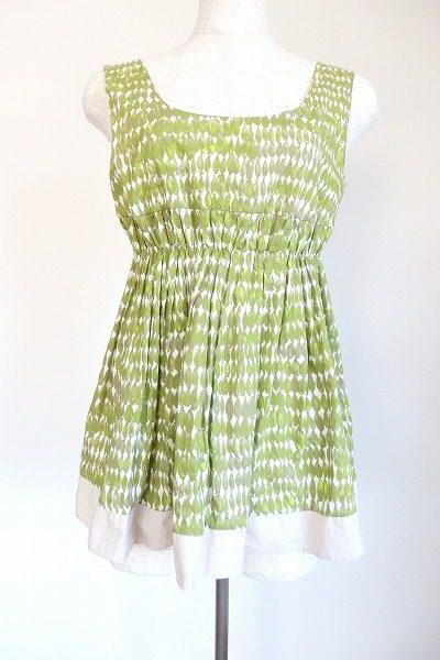 春夏にぴったりなマルニの爽やかグリーンのプリントギャザーチュニック