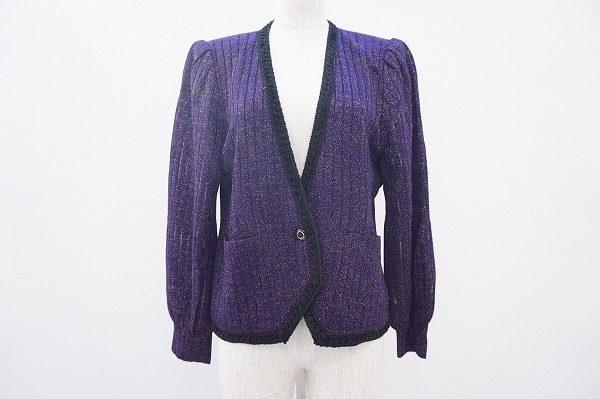 エレガントでゴージャス。斎藤都世子のパープルカラーのニットジャケットをお売り頂きました